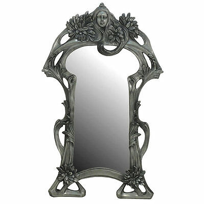 Pewter Finish Art Nouveau Lady Mirror