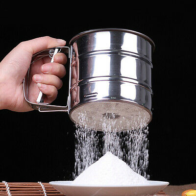 Stainless Steel Mesh Flour Sifter Baking Icing Sugar Shaker Sieve Cup Shape RI