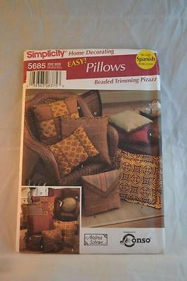 SIMPLICITY 5685 Quilted Pillow Pattern Uncut As New Condition FREEPOST IN AUST