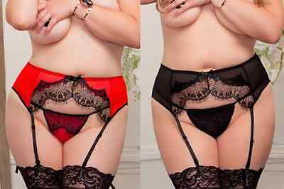 Sexy PLUS SIZE WOMEN Delicate Lace Garter RED or BLACK - Size 16 - 22 FREE POST