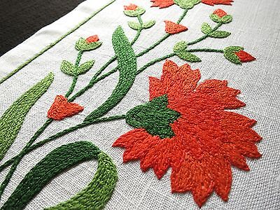 VIBRANT Red Orange ~DAHLIAS~ 3-D Hand Embroidered Linen 16 pc PLACEMATS NAPKINS