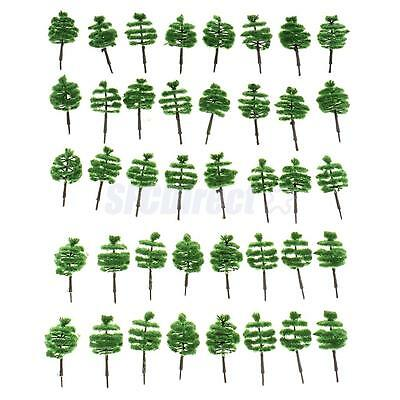 40pcs Railway Train Turreted Model Trees 1:250 Z Guage Dark Green Layout