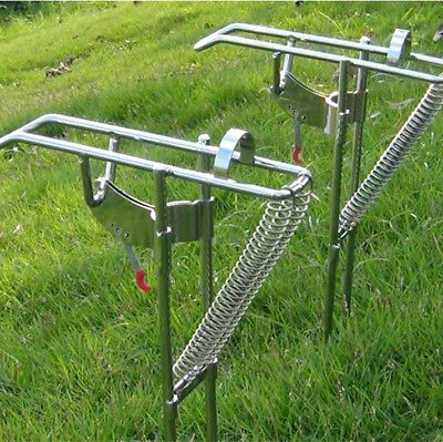 Stainless Fishing Rod Holder Rack w/ Automatic Tip-Up Hook Setter, Double Spring