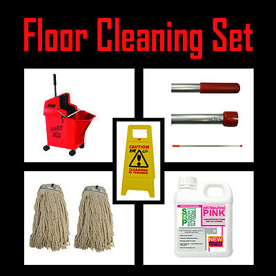 RED Kentucky SYR professional MOP BUCKET SET with SIGN & 1L pH NEUTRAL CLEANER