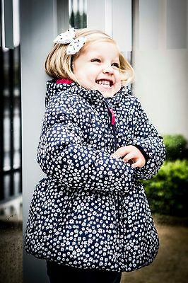 Girls daisy print navy coat jacket winter  6-12-18-24 months 1-2-3 years fleece