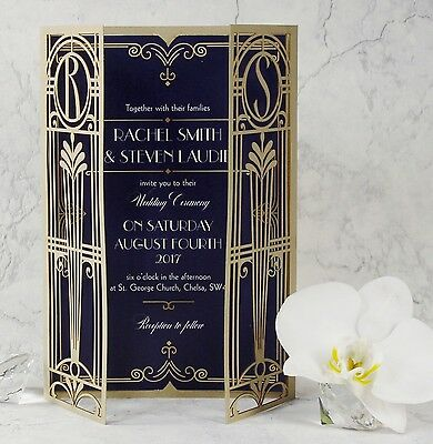 Gold Lasercut Art Deco Great Gatsby Personalized Gatefold Wedding Invitation