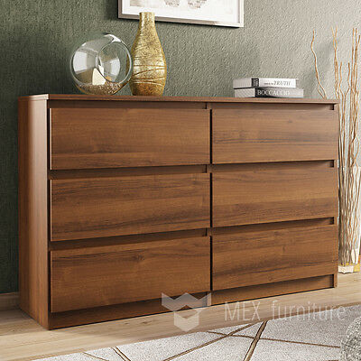 Modern Walnut Chest of Drawers - 6 Drawers Bedroom Furniture Cabinet   Sideboard