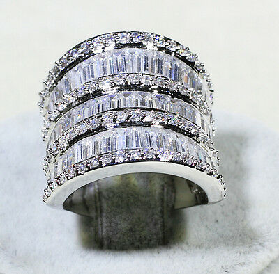 Luxury big Jewelry White sapphire Cz 925 Silver Engagement Wedding Band ring