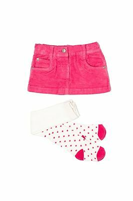 Baby girls Pink Cord skirt tights 6-12-18-24 months 1-2-3 Yrs Adjustable waist