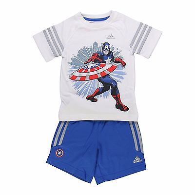 Boys Adidas Captain America T-Shirt And Shorts Set Kids Marvel Age 3-8 Years