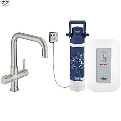 GROHE 30153 DC0 Red Duo SuperSteel Kitchen Mixer & Single Boiler, 30153DC0