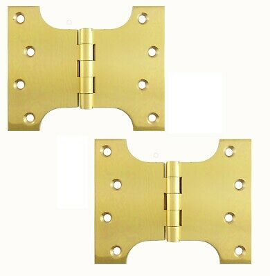 """A Pair Of 4""""x 5"""" Parliament Butt Hinges in Polished Brass (PB235)"""