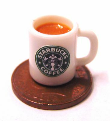 1:12 Mug Of Starbucks Chocolate Dolls House Miniature Kitchen Drink Accessory