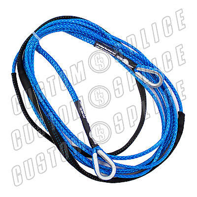 "25' x 1/4"" AmSteel-Blue UTV ATV SXS Extension Synthetic Winch Rope Line Cable"