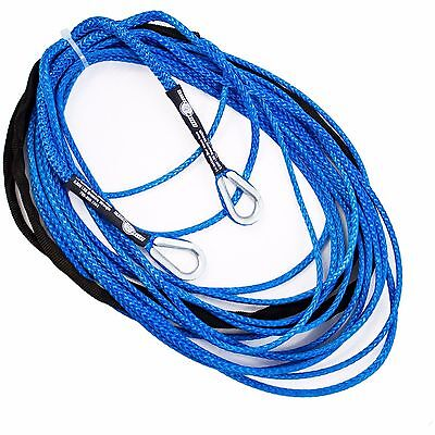 "100' x 1/4"" AmSteel-Blue UTV ATV SXS Extension Synthetic Winch Rope Line Cable"