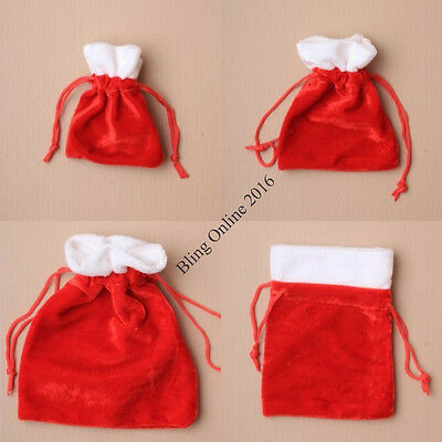 Velvet Style Santa Sack Christmas Gift Bag Pouch Small Little Gifts Presents.