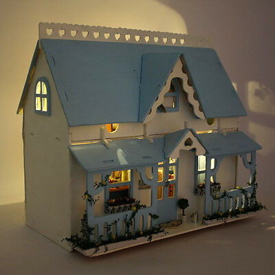 Handmade Wooden Dollhouse Miniatures DIY House Toy Set with LED Light Kids Gift