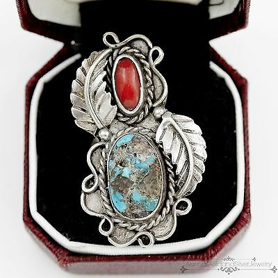 Antique Vintage Sterling Silver Native Navajo Red Coral Turquoise Ring Sz 5