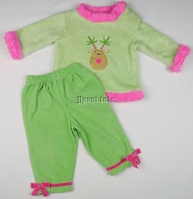 Peaches 'N Cream Reindeer Outfit Set Mint Green Pink Holiday 12 Mo EEUC