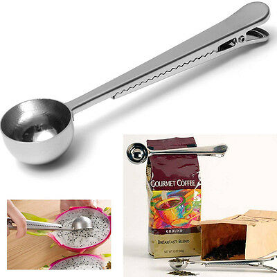 New Stainless Steel Ground Coffee Measuring Scoop Spoon With Bag Seal Clip 1 Cup