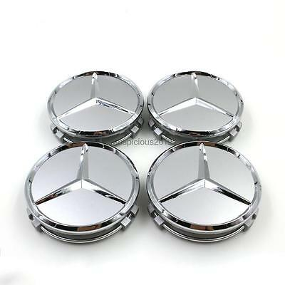 4pcs Silver 75mm Center Hubcap Hub Caps Wheel Cover for Mercedes Benz AMG
