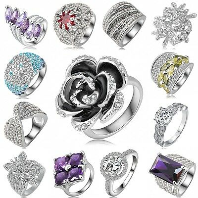 18K White Gold Filled Crystal Women Wedding Diamond Ring Jewelry Gifts Size 6-9