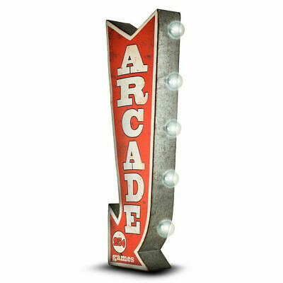 Arcade Arrow Double Sided Distressed Metal Sign W/ LED Lights Game Room Man Cave