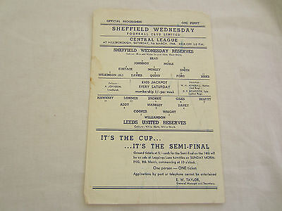 1963-64 CENTRAL LEAGUE RESERVES SHEFFFIELD WEDNESDAY  v LEEDS UNITED