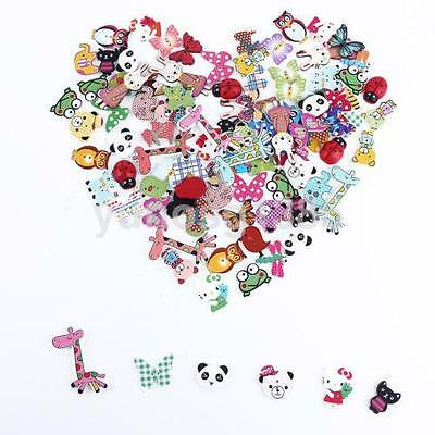 50 Pcs Mixed Color Animal Shape 2 Hole Wood Buttons For Sewing/Scrapbook UK