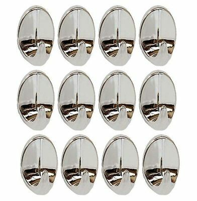 Self Adhesive Sticky Stick on Hooks Chrome Strong Door Home Oval Hook 12 Pack
