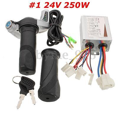 24V 250W Motor Brush Speed Controller Electric Bike Scooter Throttle Twist Grips