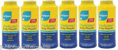 6 x 200g Medipure Medicated Body Powder - Soothing Treatment 100% TALC FREE
