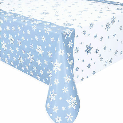 "54""x84"" Christmas Party Seasonal Snowflakes Pale Blue White Plastic Table Cover"