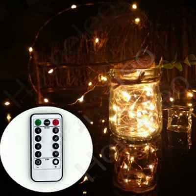 10M Battery LED String Lights Waterproof with Remote Control 8 Modes Warm White