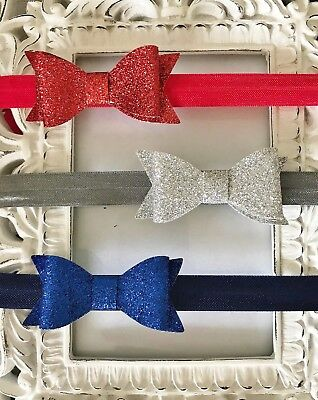 Christening Girl Glitter Double Sparkle Bow Elastic Headband Baby Party Wedding