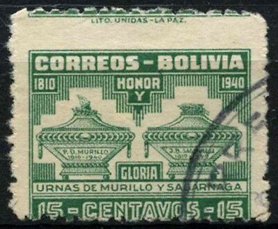 Bolivia 1941 SG#377, 15c P.D. Murillo Perf Shift Error Used #D35208