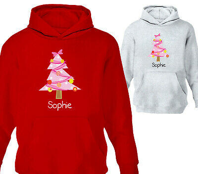 Personalised Childrens Chistmas Tree Hoodie Girls Hoody Xmas Kids Gift