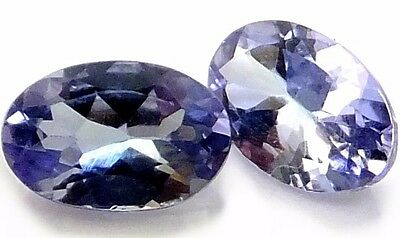 NATURAL LOVELY VIOLET BLUE TANZANITE LOOSE GEMSTONE  (PAIR) OVAL (6.1 x 4 mm)