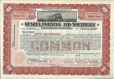 Geneva, Corning And Southern Railroad Company...unissued Stock Certificate