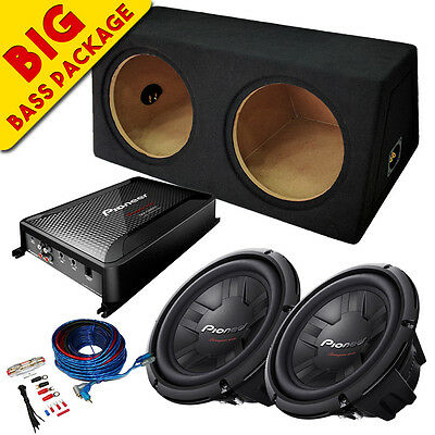 """Pioneer 12"""" Car Subwoofer Bass Box 2800w Package With Amplifier & Wiring Kit"""