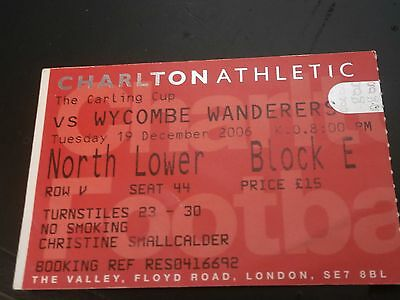 Charlton Athletic v Wycombe Wanderers 19th Dec 2006 Carling Cup Match Ticket