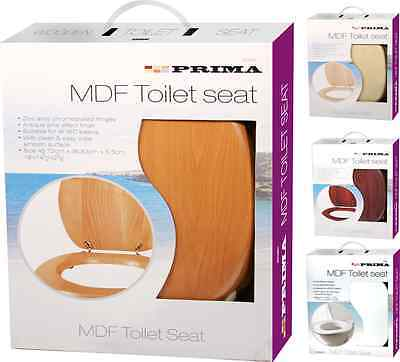 """18"""" Mdf Universal Bathroom Wc Toilet Seat Easy Fit With Fittings Wooden New"""