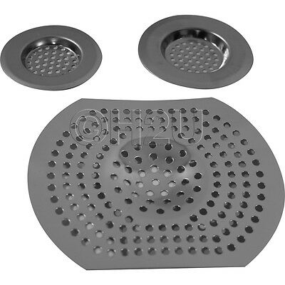 3Pc Sink Bath Strainer Hair Trap Food Filter Basin Plug Hole Silver Kitchen New