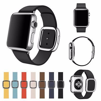 For Apple Watch Series 3/ 2/ 1 Band Modern Buckle Magnetic Closure Leather Strap