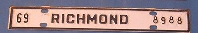 1969 Richmond license plate from Virginia