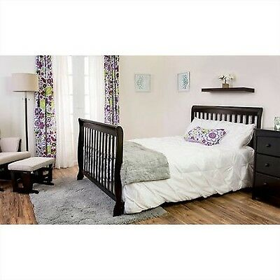 Convertible Baby Crib 5-in-1 Crib Black Infant Toddler Nursery Bed Changer NEW
