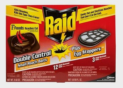 New!! RAID ~Bait Station Roach & Egg Killer~ 12pk Easy to use, NO clean-up 15745