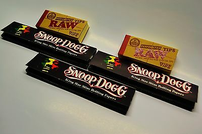 Snoop Dogg King Size Slim Rolling Papers (3) and RAW Perforated Tips Roach (2)