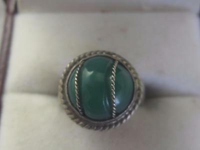Vintage Handmade Sterling Silver Ring W/ Twisted Wire Wrapped Green Glass - 5.5