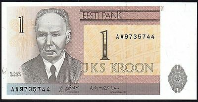 2006 ESTONIA 1 KROON BANKNOTE * AA 9735744 * aUNC * P-85 *
